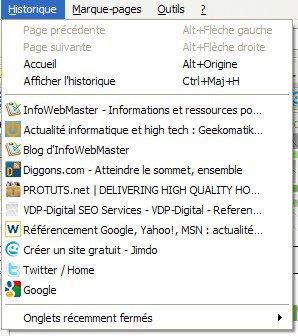 Historique de navigation de Firefox