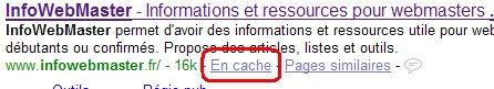 Capture d'écran du SERP Google présentant l'option pour consulter la version en cache