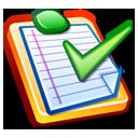 liste avec un symbole d'acceptation