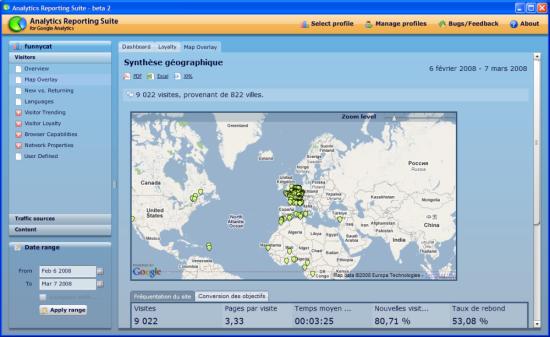 capture d'écran de l'application Google Analytics Reporting Suite