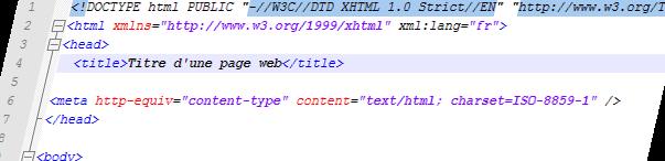 Titre d'une page web dans Notepad++