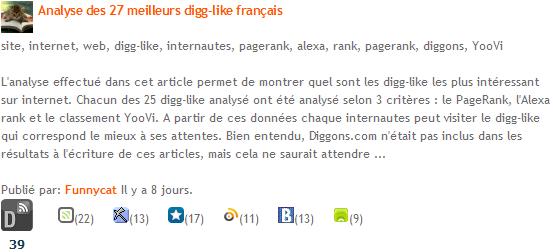 Article des meilleurs digg-like français sur Diggons