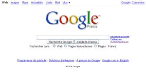 Capture d'écran de l'accueil de Google