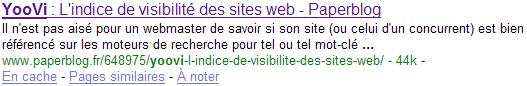 Résultat sur Google article Paperblog sur YooVi