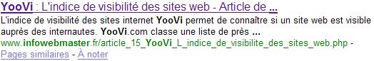 Résultat Google véritable article YooVi sur InfoWebmaster