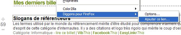 Clique droit sur Firefox pour ajouter un lien sur Diggons