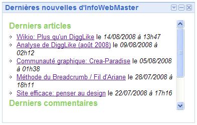 Gadget InfoWebMaster pour iGoogle