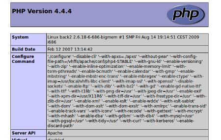 Capture du résultat de phpinfo