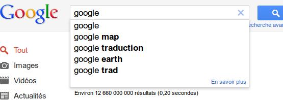 Capture de Google suggest