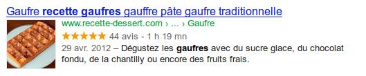 snippet Google pour une recherche de recette de gaufre