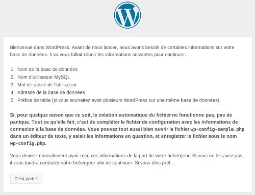 Deuxième étape de l'installation de WordPress
