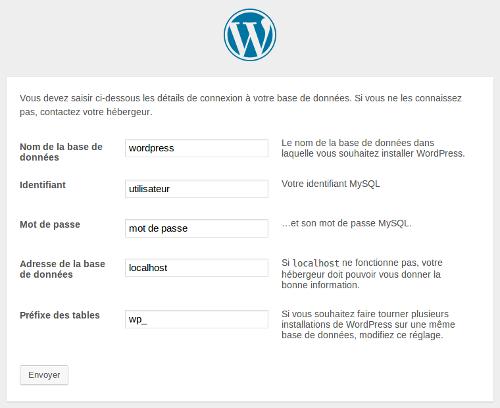 Troisième étape de l'installation de WordPress