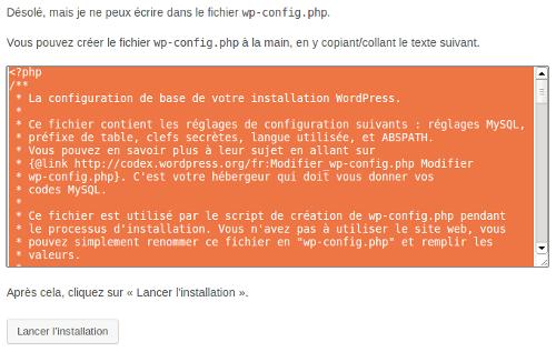 Création manuelle du fichier wp-config.php