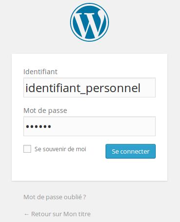 Page de connexion à l'administration d'un site WordPress