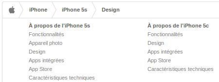 Intégration du fil d'Ariane sur le site de Apple