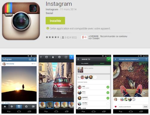 Aperçu de l'application Instagram dans le Google Play