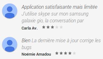 Quelques commentaires pour l'application Skype