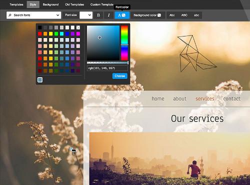 Changement de couleurs dans l'interface Jimdo