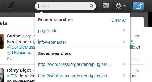 Recherche sur Twitter avec suggestion de recherche déjà effectuée